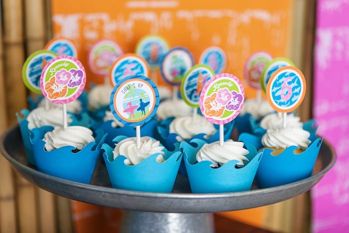 Cupcakes from a Girly Surfing Party via Kara's Party Ideas | The Place for All Things Party! KarasPartyIdeas.com (50)