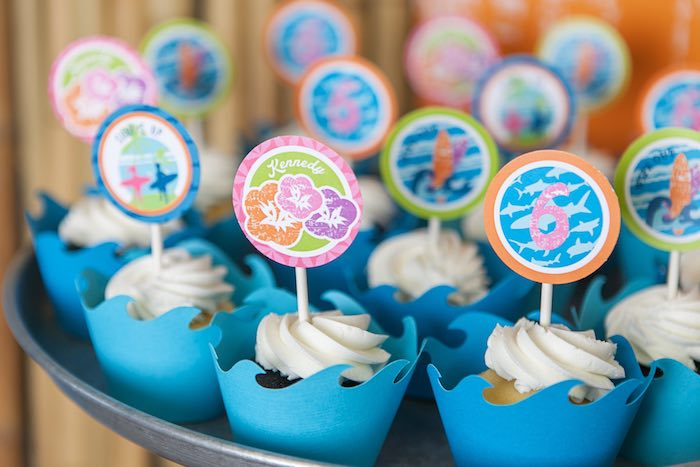 Cupcakes from a Girly Surfing Party via Kara's Party Ideas | The Place for All Things Party! KarasPartyIdeas.com (49)