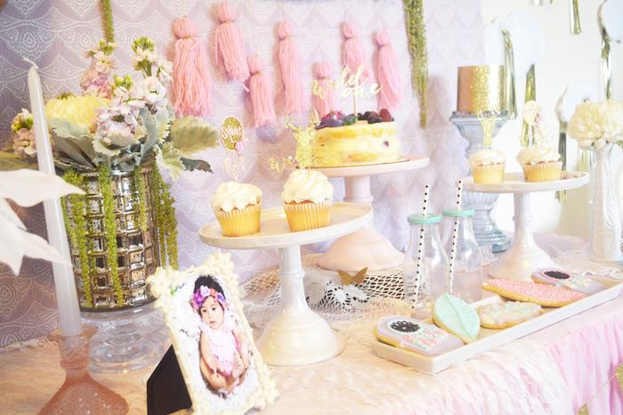 Dessert Table Setup from a Glamorous Boho Birthday Party via Kara's Party Ideas! KarasPartyIdeas.com (22)