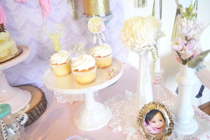 Cupcakes + Decor from a Glamorous Boho Birthday Party via Kara's Party Ideas! KarasPartyIdeas.com (21)