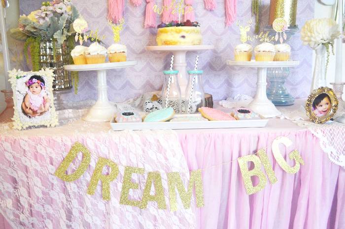 Dessert Table Details from a Glamorous Boho Birthday Party via Kara's Party Ideas! KarasPartyIdeas.com (20)