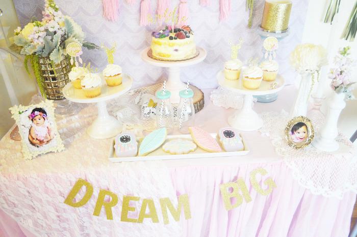 Sweet Table Details from a Glamorous Boho Birthday Party via Kara's Party Ideas! KarasPartyIdeas.com (15)