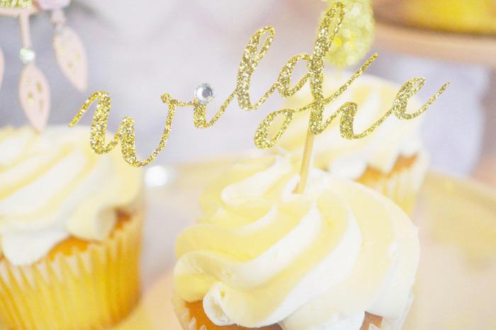 Glitter Cupcake Topper from a Glamorous Boho Birthday Party via Kara's Party Ideas! KarasPartyIdeas.com (33)