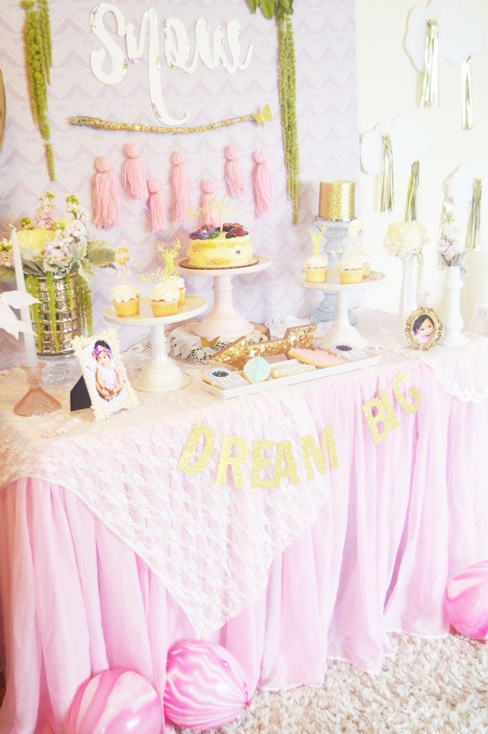 Side-view of a Dessert Table from a Glamorous Boho Birthday Party via Kara's Party Ideas! KarasPartyIdeas.com (12)