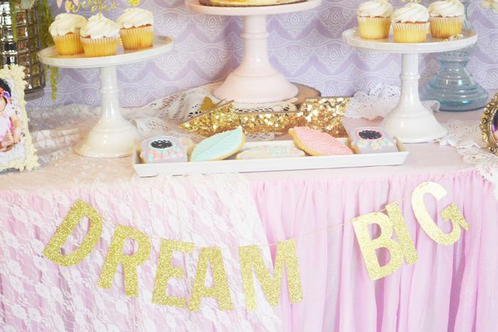 Dessert Table Details from a Glamorous Boho Birthday Party via Kara's Party Ideas! KarasPartyIdeas.com (11)