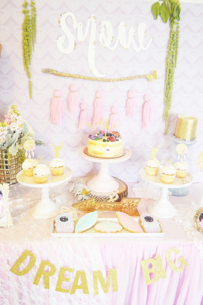 Dessert Table from a Glamorous Boho Birthday Party via Kara's Party Ideas! KarasPartyIdeas.com (10)