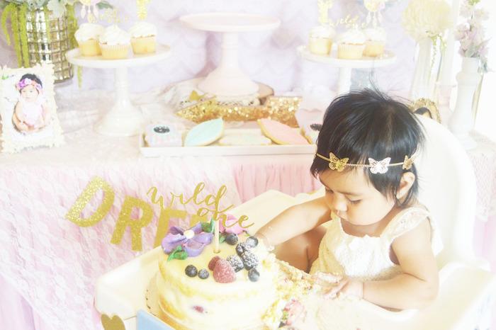 Birthday girl & Cake from a Glamorous Boho Birthday Party via Kara's Party Ideas! KarasPartyIdeas.com (5)