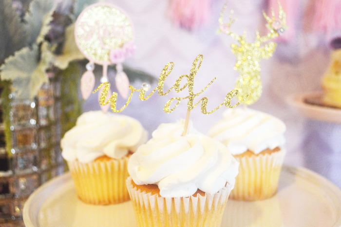 Cupcakes from a Glamorous Boho Birthday Party via Kara's Party Ideas! KarasPartyIdeas.com (31)