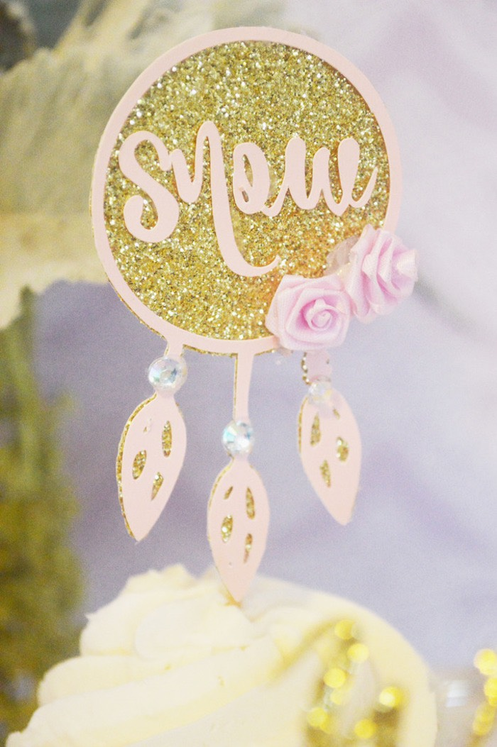 Cupcake Topper from a Glamorous Boho Birthday Party via Kara's Party Ideas! KarasPartyIdeas.com (28)
