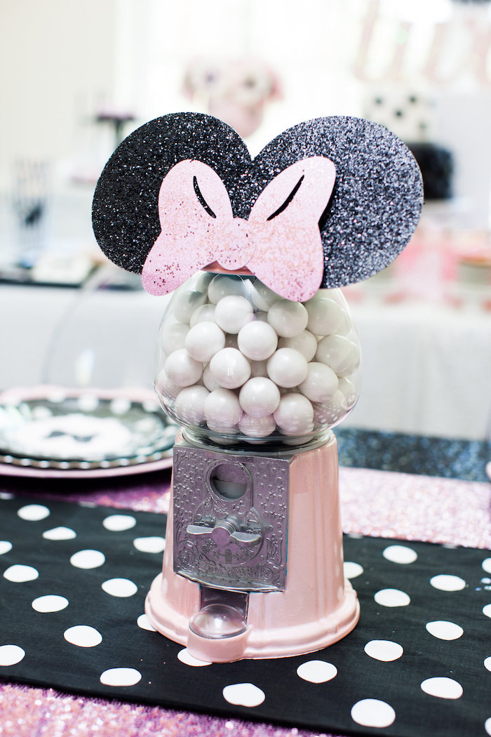 Minnie Mouse-inspired Gumball Machine from a Glamorous Minnie Mouse Birthday Party via Kara's Party Ideas KarasPartyIdeas.com (14)