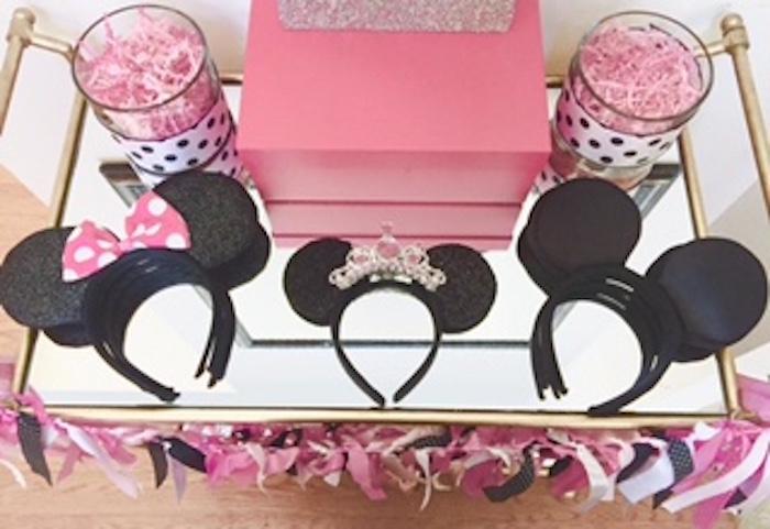 Headbands from a Glamorous Minnie Mouse Birthday Party via Kara's Party Ideas KarasPartyIdeas.com (2)