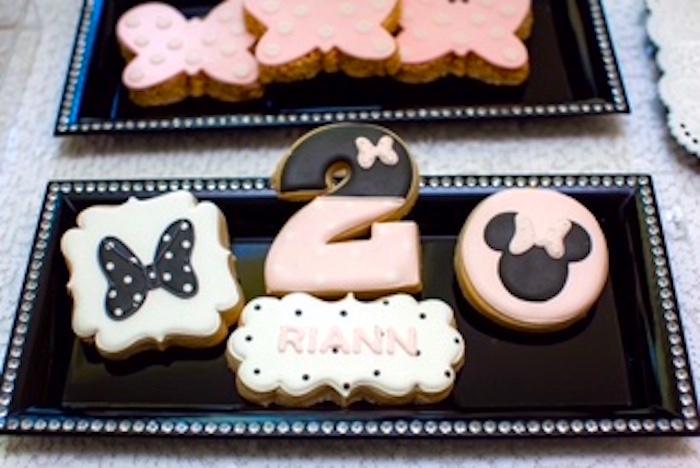 Minnie Mouse Themed Cookies from a Glamorous Minnie Mouse Birthday Party via Kara's Party Ideas KarasPartyIdeas.com (21)
