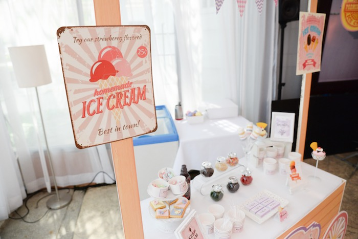 Ice Cream Sign + Bar from an Ice Cream Parlor Birthday Party via Kara's Party Ideas - KarasPartyIdeas.com (14)