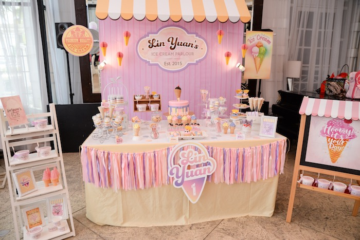 Dessert Table from an Ice Cream Parlor Birthday Party via Kara's Party Ideas - KarasPartyIdeas.com (13)