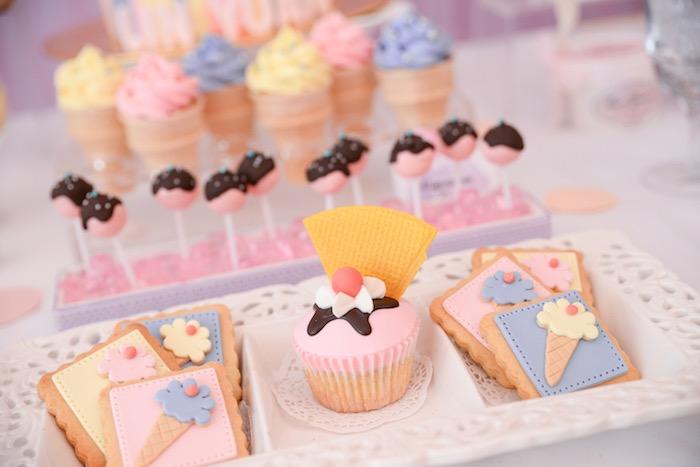 Cupcake + Cookies from an Ice Cream Parlor Birthday Party via Kara's Party Ideas - KarasPartyIdeas.com (12)