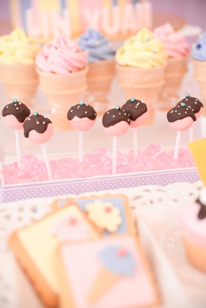 Cake Pops from an Ice Cream Parlor Birthday Party via Kara's Party Ideas - KarasPartyIdeas.com (11)