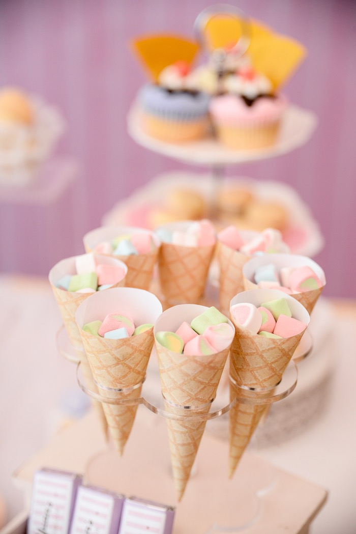 Paper Waffle Cones filled with Marshmallows from an Ice Cream Parlor Birthday Party via Kara's Party Ideas - KarasPartyIdeas.com (9)