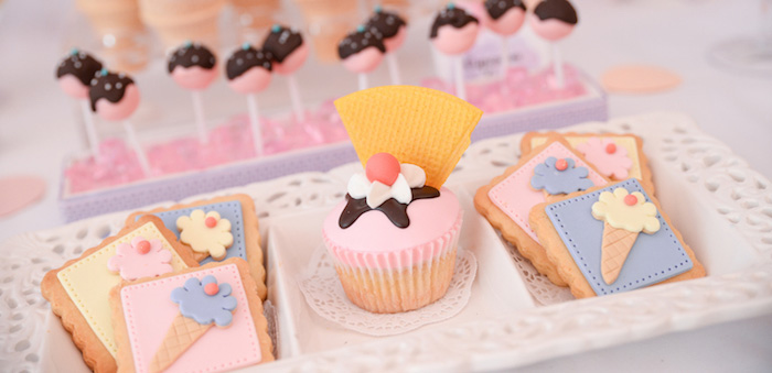 Cupcake + Cookies from an Ice Cream Parlor Birthday Party via Kara's Party Ideas - KarasPartyIdeas.com (4)