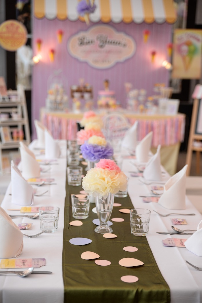 Guest Table from an Ice Cream Parlor Birthday Party via Kara's Party Ideas - KarasPartyIdeas.com (22)
