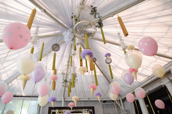 Overhead Party Decor + Canopy from an Ice Cream Parlor Birthday Party via Kara's Party Ideas - KarasPartyIdeas.com (21)