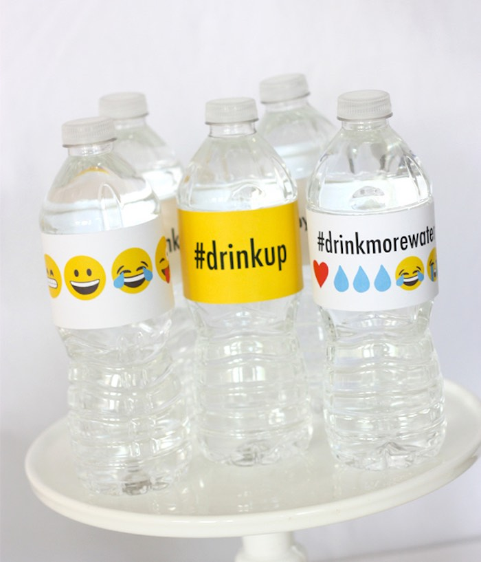 Water Bottles from an Instagram Emoji Themed Teen Birthday Party via Kara's Party Ideas - The Place for All Things Party! KarasPartyIdeas.com (17)
