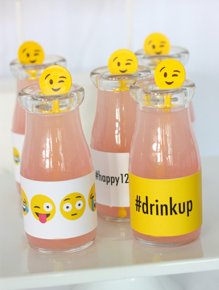 Drinks from an Instagram Emoji Themed Teen Birthday Party via Kara's Party Ideas - The Place for All Things Party! KarasPartyIdeas.com (16)