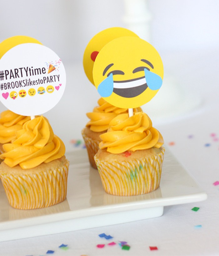 Cupcakes from an Instagram Emoji Themed Teen Birthday Party via Kara's Party Ideas - The Place for All Things Party! KarasPartyIdeas.com (10)
