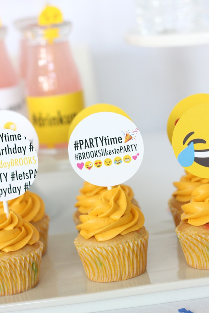 Cupcakes from an Instagram Emoji Themed Teen Birthday Party via Kara's Party Ideas - The Place for All Things Party! KarasPartyIdeas.com (9)