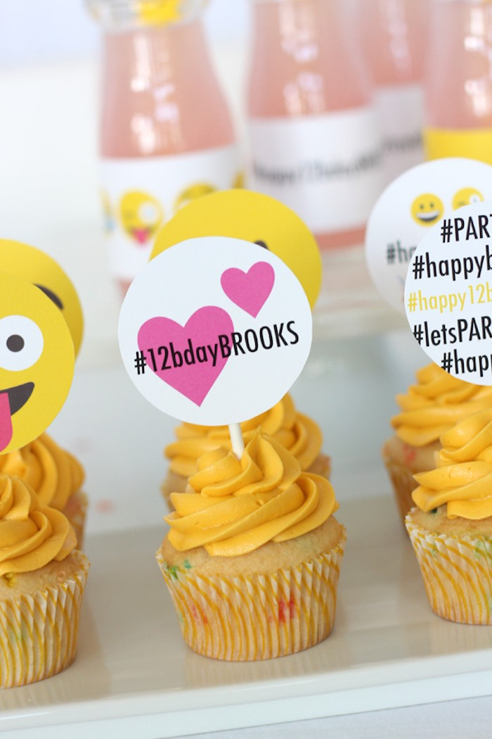 Cupcakes from an Instagram Emoji Themed Teen Birthday Party via Kara's Party Ideas - The Place for All Things Party! KarasPartyIdeas.com (8)