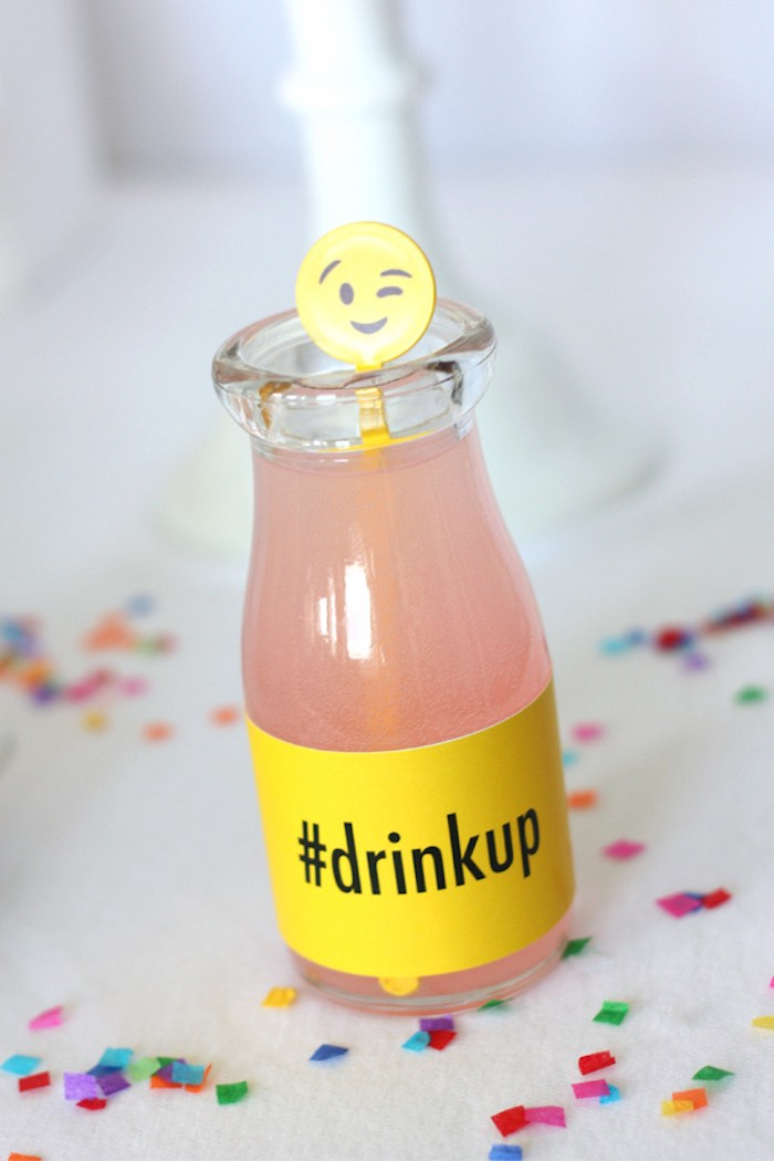 Drink from an Instagram Emoji Themed Teen Birthday Party via Kara's Party Ideas - The Place for All Things Party! KarasPartyIdeas.com (6)