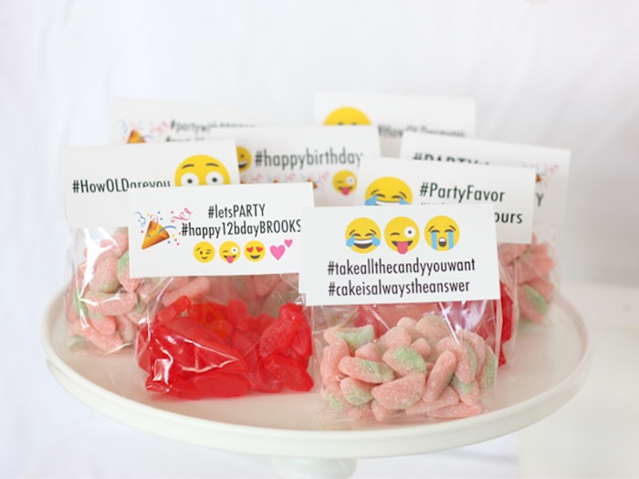 Candy Bag Favors From An Instagram Emoji Themed Teen Birthday Party Via Karas Ideas