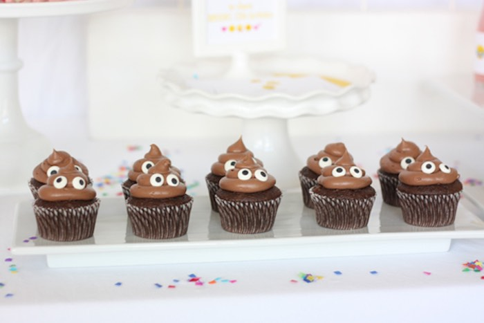 Poop Emoji Cupcakes from an Cupcakes from a Instagram Emoji Themed Teen Birthday Party via Kara's Party Ideas - The Place for All Things Party! KarasPartyIdeas.com (4)