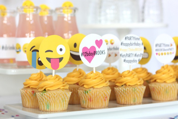 Cupcakes from an Instagram Emoji Themed Teen Birthday Party via Kara's Party Ideas - The Place for All Things Party! KarasPartyIdeas.com (3)