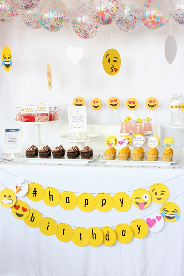 Sweet Table From An Instagram Emoji Themed Teen Birthday Party Via Karas Ideas