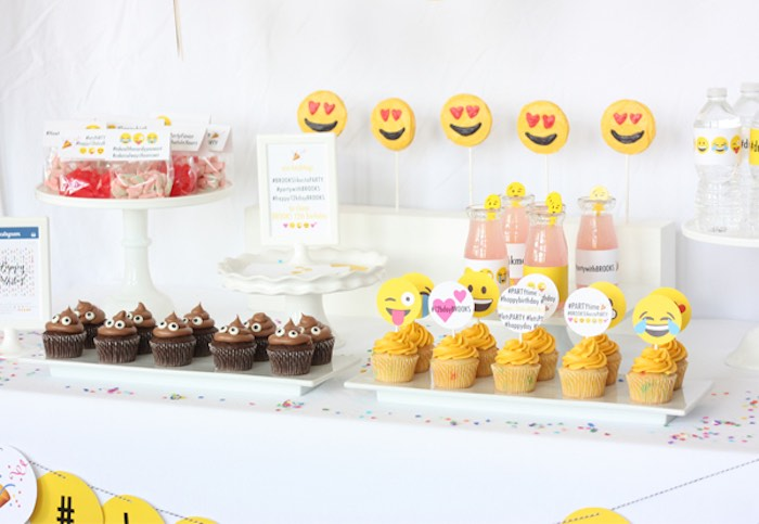 Sweet Table Details From An Instagram Emoji Themed Teen Birthday Party Via Karas Ideas