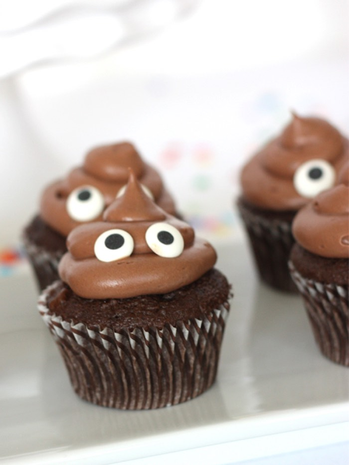 Poop Emoji Cupcakes From An Instagram Themed Teen Birthday Party Via Karas Ideas