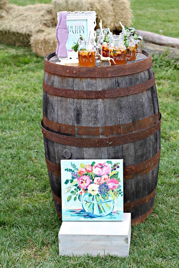 Drink Display from a Kentucky Derby Garden Party via Kara's Party Ideas | KarasPartyIdeas.com (46)