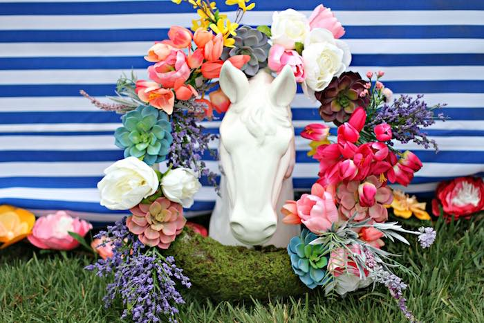 Spring Wreath + Horse Statue from a Kentucky Derby Garden Party via Kara's Party Ideas | KarasPartyIdeas.com (44)