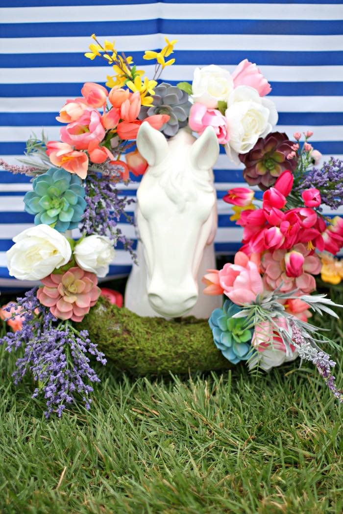 Spring Wreath + Horse Statue from a Kentucky Derby Garden Party via Kara's Party Ideas | KarasPartyIdeas.com (43)