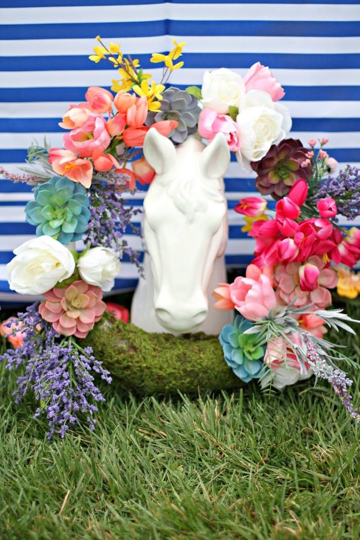 Spring Wreath + Horse Statue from a Kentucky Derby Garden Party via Kara's Party Ideas | KarasPartyIdeas.com (43)