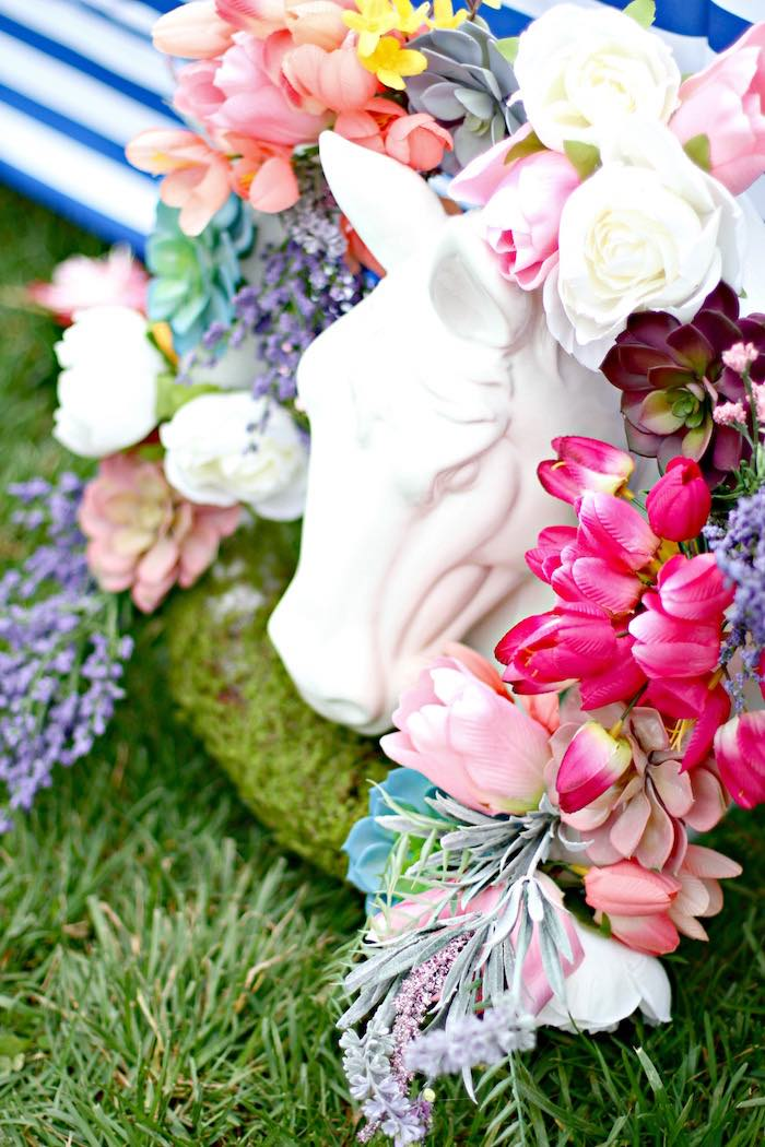Floral Spring Wreath + Horse Statue from a Kentucky Derby Garden Party via Kara's Party Ideas | KarasPartyIdeas.com (41)
