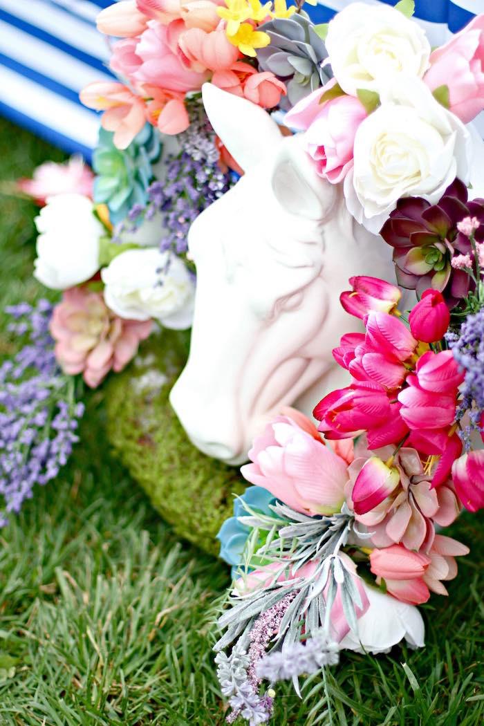 Floral Spring Wreath + Horse Statue from a Kentucky Derby Garden Party via Kara's Party Ideas | KarasPartyIdeas.com (41)