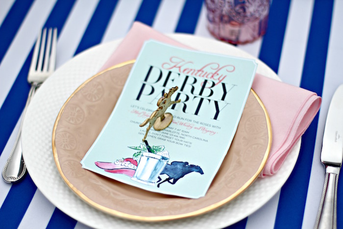 Place Setting + Invitation from a Kentucky Derby Garden Party via Kara's Party Ideas | KarasPartyIdeas.com (57)