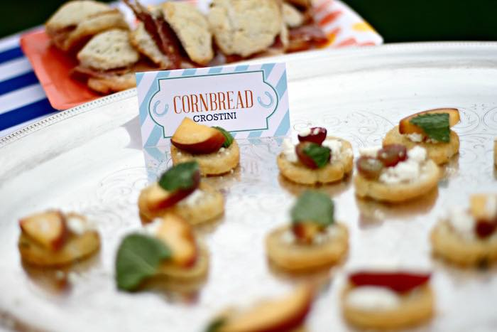 Cornbread Crostini from a Kentucky Derby Garden Party via Kara's Party Ideas | KarasPartyIdeas.com (33)