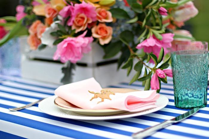 Place Setting from a Kentucky Derby Garden Party via Kara's Party Ideas | KarasPartyIdeas.com (22)