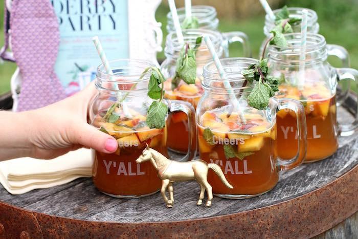 Peach Mint Julep Drinks from a Kentucky Derby Garden Party via Kara's Party Ideas | KarasPartyIdeas.com (16)