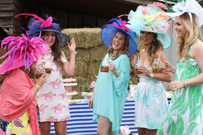 Ladies enjoying themselves at a Kentucky Derby Garden Party via Kara's Party Ideas | KarasPartyIdeas.com (14)