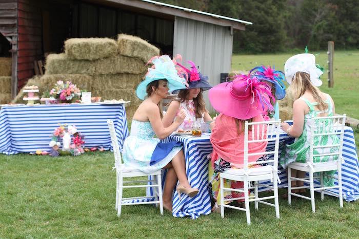 Ladies Dining at a Kentucky Derby Garden Party via Kara's Party Ideas | KarasPartyIdeas.com (10)