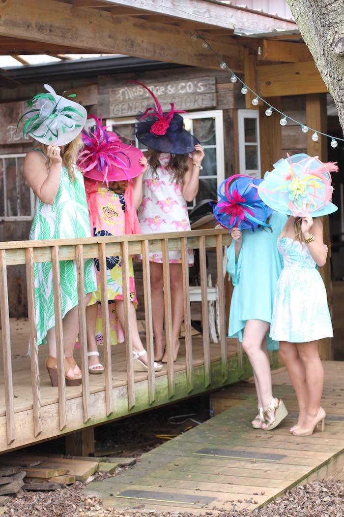 Ladies and their dresses + hats from a Kentucky Derby Garden Party via Kara's Party Ideas | KarasPartyIdeas.com (7)