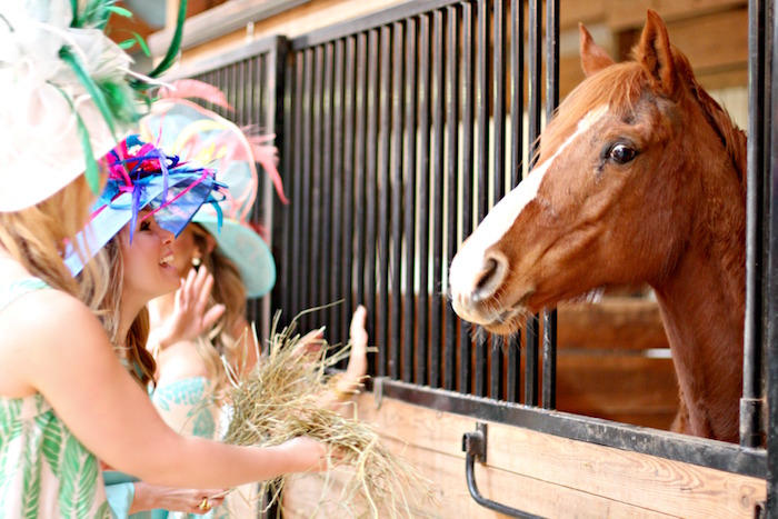 Ladies feeding the horses from a Kentucky Derby Garden Party via Kara's Party Ideas | KarasPartyIdeas.com (5)